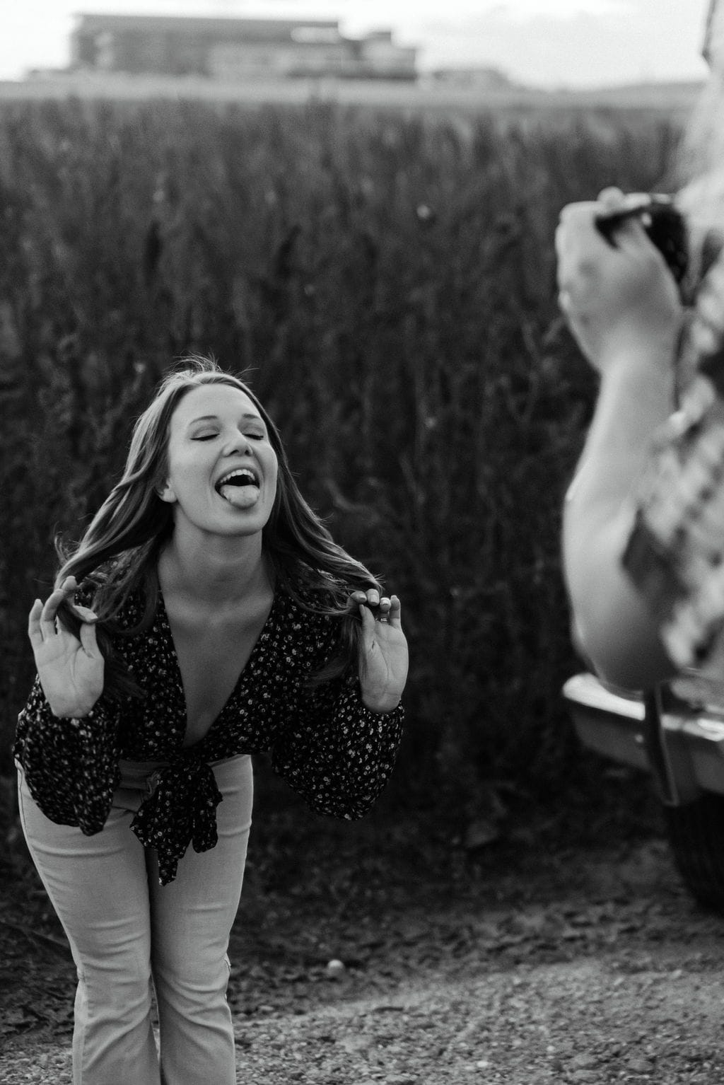 Taking a photo with the Fuji x100v at denver engagement session