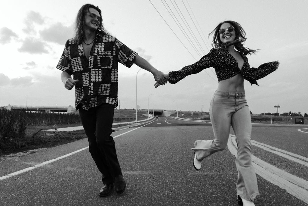 Fear and loathing 70s inspired denver engagement session