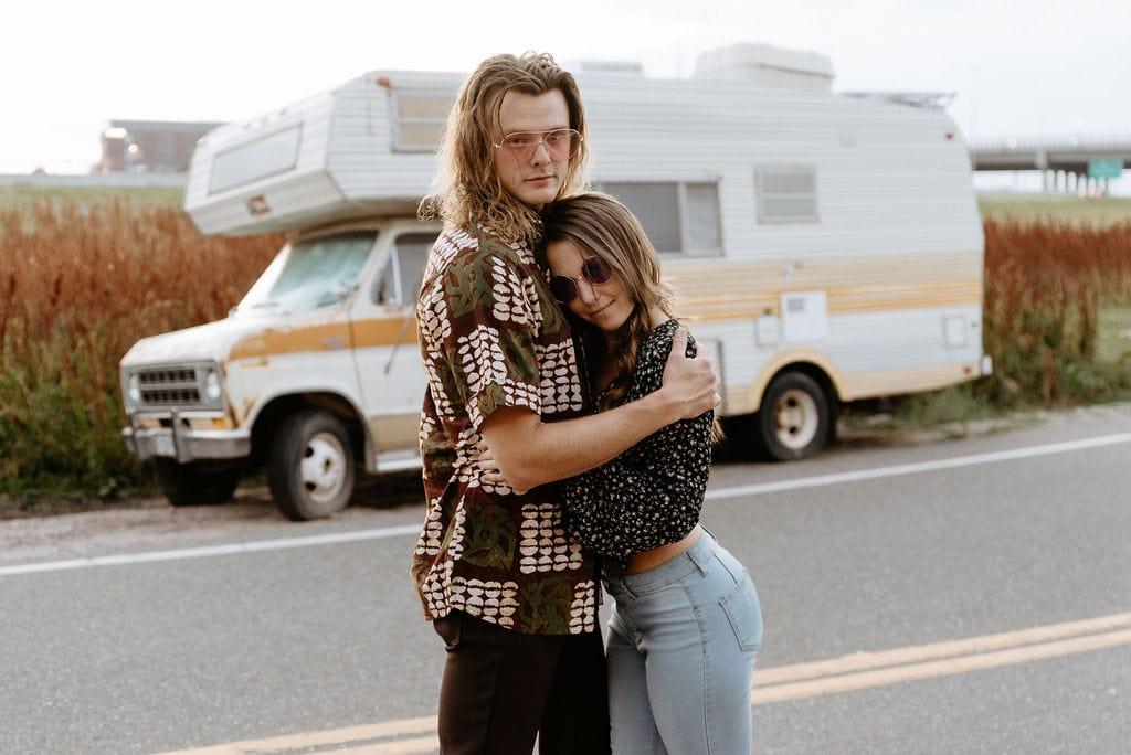 70s Retro Camper Van Engagement Session in Colorado