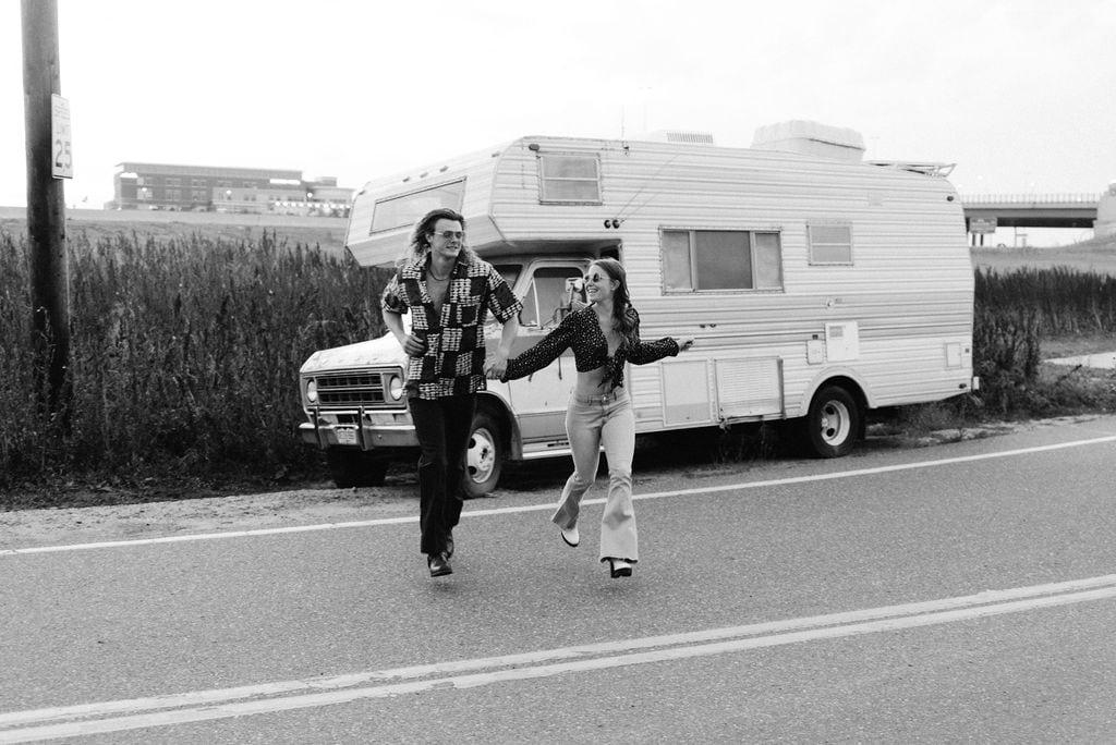 70s inspired Camper Van Denver Engagement Session