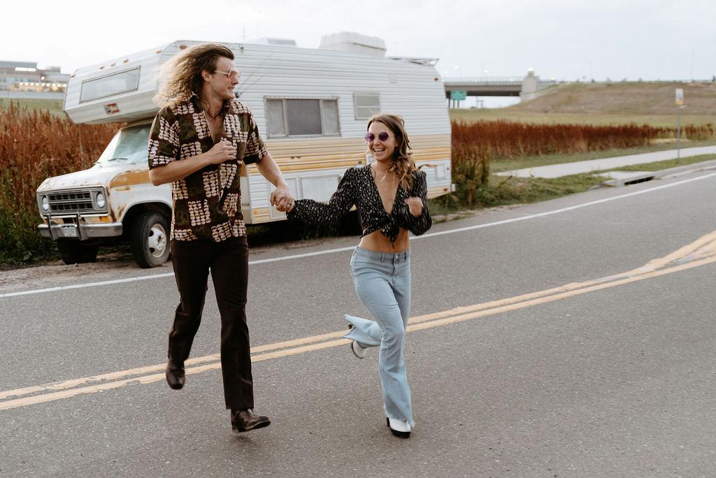 playful 70s inspired Camper Van Denver Engagement Session