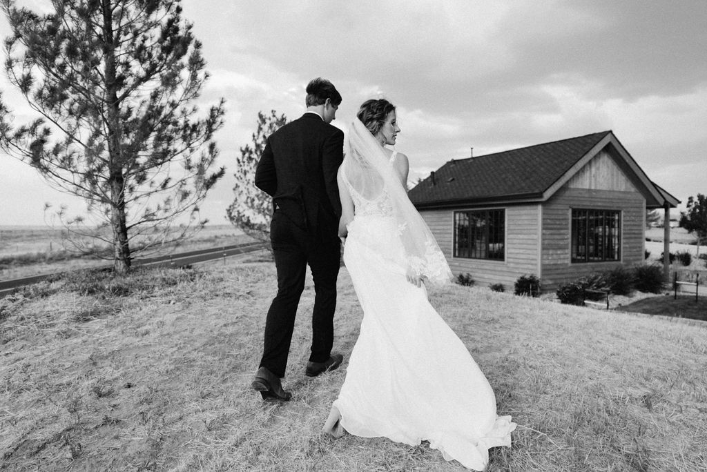 Romantic and Windy Bride and Groom Portraits at Bonnie Blues Event Venue