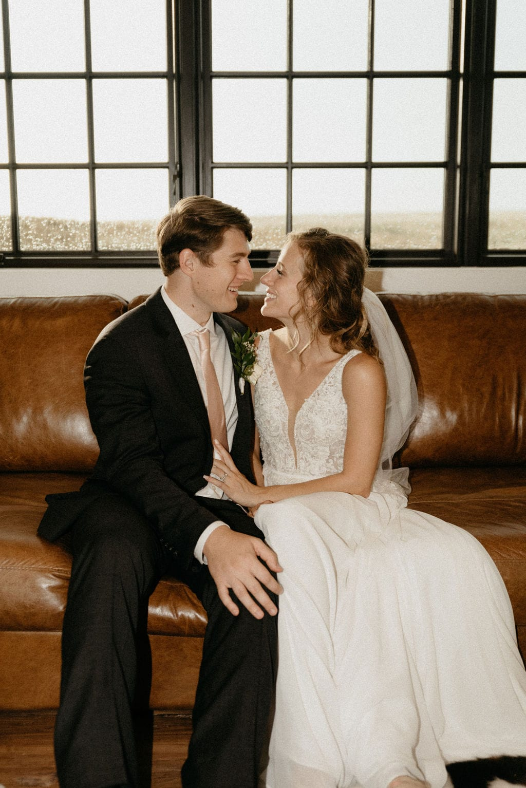 Indoor Vogue inspired Couples Portraits on a Rainy Wedding Day