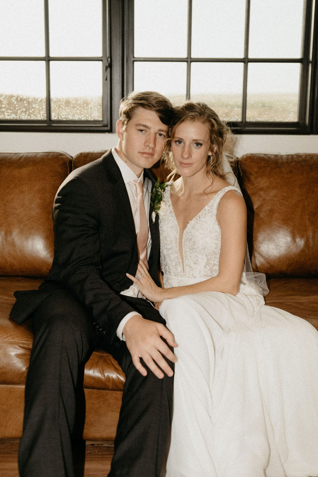Indoor Vintage inspired Couples Portraits on a Rainy Wedding Day