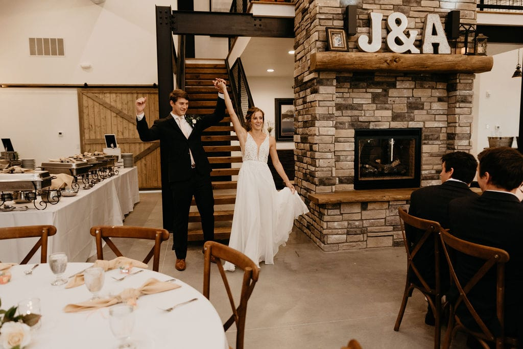 Bride and Groom enter the reception hall at Bonnie Blues Event VEnue