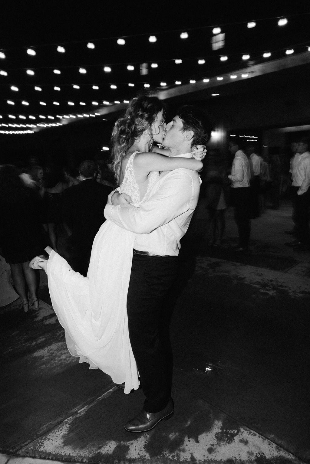 Fun energetic reception photos taken with slow shutter at colorado wedding bonnie blues wedding venue