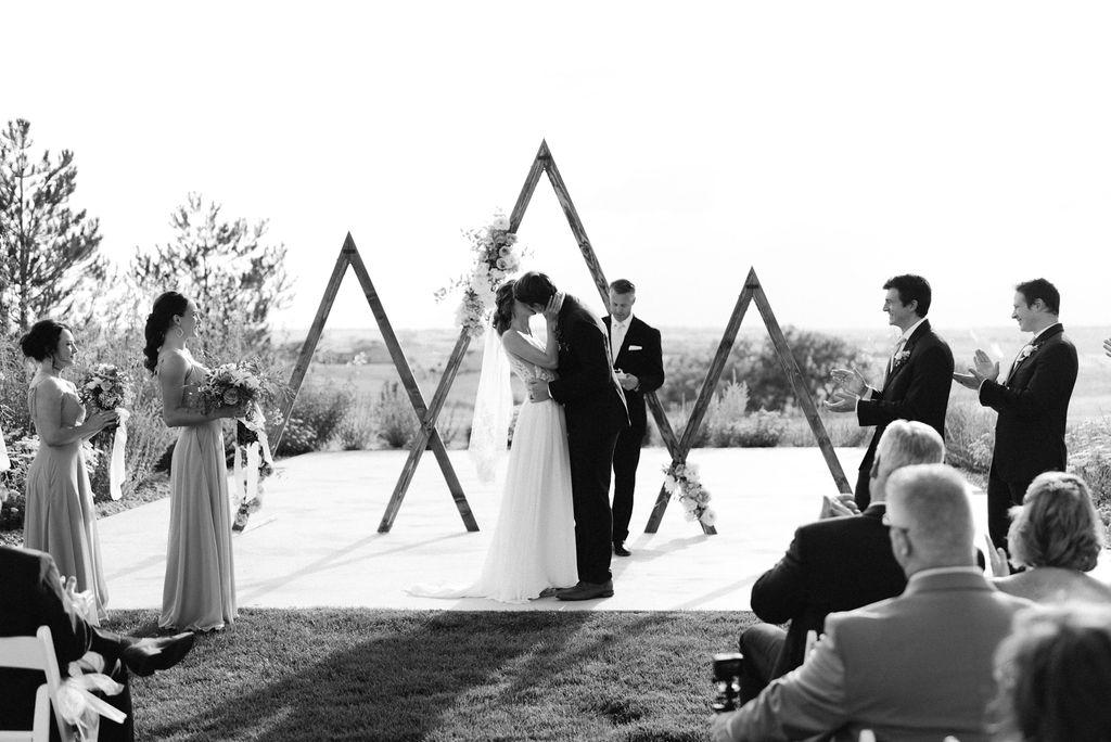 Wedding Ceremony Bride and Groom First Kiss at Bonnie Blues Wedding Venue