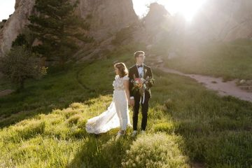 Romantic Bride and Groom Portraits in Settlers Park at Boulder Colorado Elopement